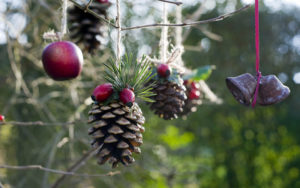 Homemade outdoor holiday decorations made from natural materials hanging in tree